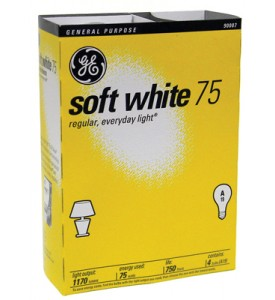 90017GE LIGHTBULB 75 W SOFT WHITE 4PK