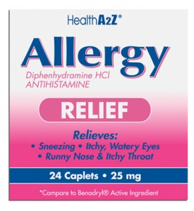 ALLERGY RELIEF 24 COATED CAPLETS DIPHENHYDRAMINE 25 MG