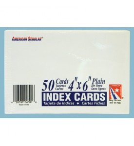AMERICAN SCHOLAR INDEX CARD 50 COUNT 4 X 6 INCH UNRULED WHITE