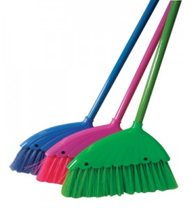 ANGLE BROOM 12 INCH WITH 43 INCH METAL HANDLE ASSORTED COLORS