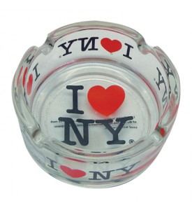 ASHTRAY 3 INCH I LOVE NY CLEAR GLASS
