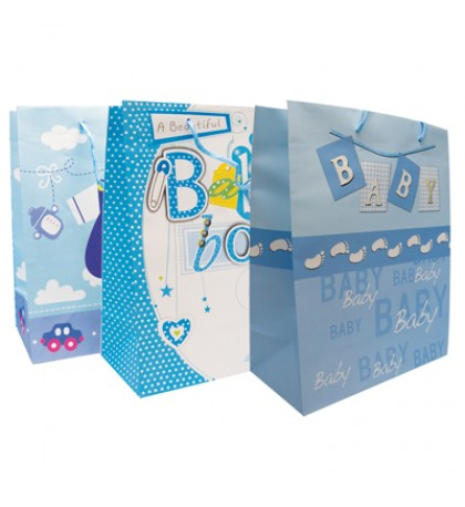 BABY BOY GIFT BAG 13 X 10.25 X 5 INCH LARGE ASSORTED DESIGNS
