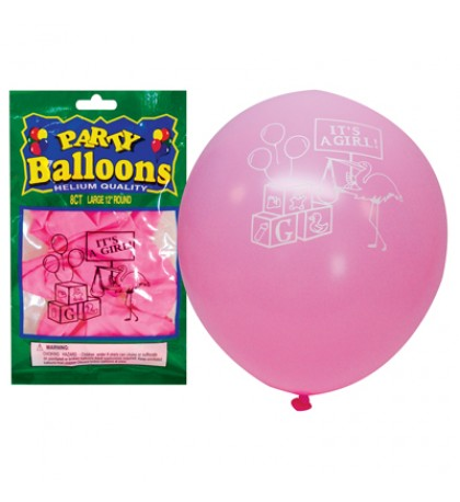 BALLOON 8 PACK 12 INCH LARGE IT'S A GIRL