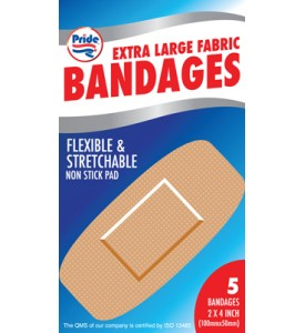 BANDAGES 5 COUNT 2 X 4 INCH EXTRA LARGE FLEXIBLE FABRIC