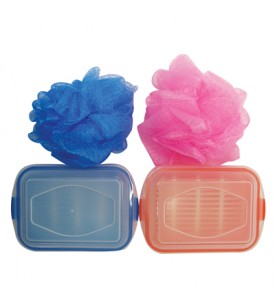 BATH SET 2 PC INCLUDES BATH SPONGE + SOAP HOLDER ASSORTED COLORS