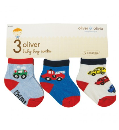 BOY'S INFANT SOCKS 3 PAIR ASSORTED COLORS & DESIGNS SIZE 0-6 MONTHS