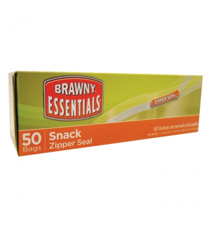 BRAWNY ESSENTIALS SNACK BAG 50 COUNT 6.5 X 3.25 INCHES ZIPPER SEAL