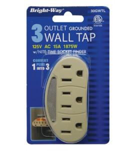 BRIGHT-WAY 3 PRONG WALL OUTLET WITH NIGHT LIGHT 125V 15A