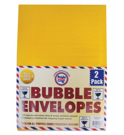 BUBBLE ENVELOPE 2 PK 8.5 X 11.5 INCH