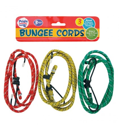 BUNGEE CORDS 3 PACK 3 FEET ASSORTED COLORS