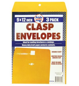 CLASP ENVELOPE 3 PACK 9 X 12 INCH