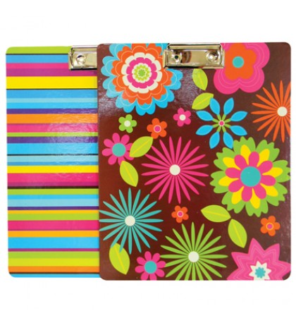 CLIP BOARD 9 X 11 INCH ASSORTED COLORS & DESIGNS