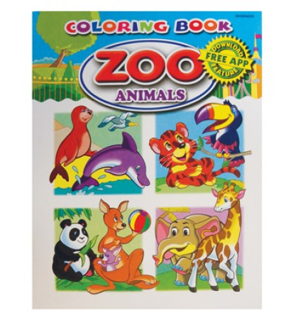 COLORING BOOK 96 PG ZOO ANIMALS
