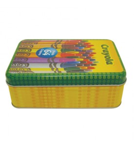 CRAYOLA CRAYON STORAGE TIN 6 X 4 X 2 INCH HOLDS 64 CRAYONS IN DISPLAY