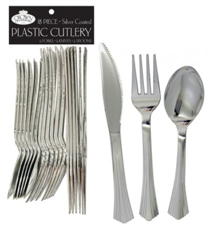 CROWN DINNERWARE PLASTIC CUTLERY 18 COUNT COMBO SILVER COATED