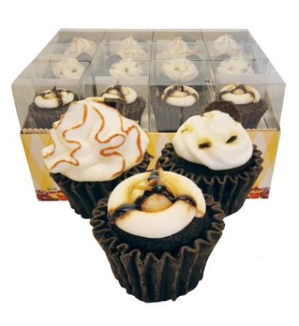 CUPCAKE CANDLE IN DISPLAY CHOCOLATE SCENT ASSORTED DESIGNS