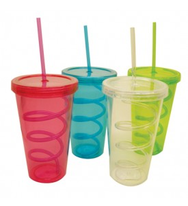 DRINKING CUP 22 OUNCE WITH SWIRL STRAW ASSORTED COLORS
