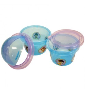 FAIRIES SNACK CONTAINER 2 PACK 4 INCH ROUND WITH SLIDING AND FLAT LIDS