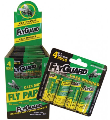 FLY PAPER ROLL 4 PACK IN DISPLAY