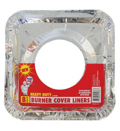 FOIL BURNER LINER 8 PACK 8.5 X 8.5 INCHES HEAVY DUTY