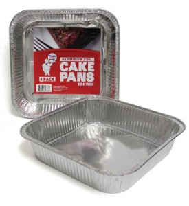 FOIL CAKE PAN 4 PACK 8 X 8 INCH SQUARE