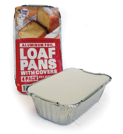 FOIL LOAF PAN 4 PK 8 X 4.25 X 2 INCH WITH COVER