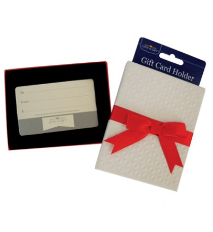 GIFT CARD HOLDER WITH RED BOW 4.5 X 3.5 INCH WHITE