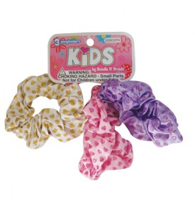 GIRLS SCRUNCHIE HAIR TIE 3 PK GLITTER HEART DESIGN ASSORTED COLORS