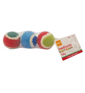 HOLIDAY FETCH DOG BALLS 3 PACK ASSORTED COLORS PREPRICED