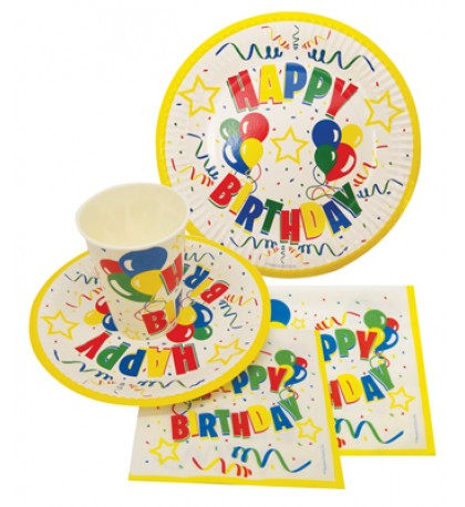 IRTHDAY PARTY SET IN DISPLAY (8 COUNT 9 INCH PLATE 8 COUNT 7 INCH PLATE8 COUNT 9 OUNCE CUPS 20 LARGE NAPKIN 20 SMALL NAPKIN