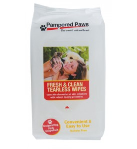 PAMPERED PAWS WIPES 50 CT 6 X 8 INCH RESEALABLE TEARLESS INVIGORATING PINK GRAPEFRUIT