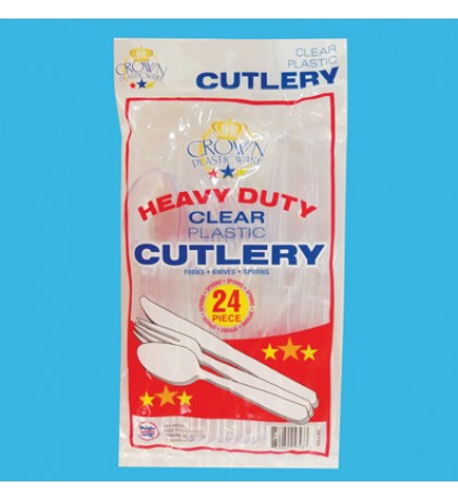 PLASTIC CUTLERY 24 COUNT COMBO HEAVY DUTY CLEAR