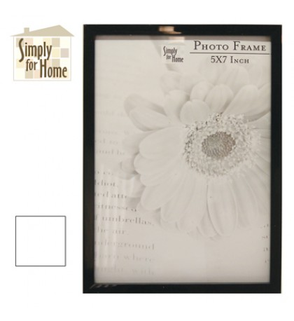PLASTIC PHOTO FRAME 5 X 7 INCH BLACK WHITE