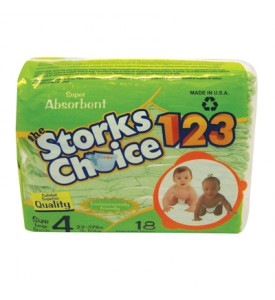 STORKS CHOICE DIAPERS 18 PK SIZE 4 LARGE 22-37 LBS