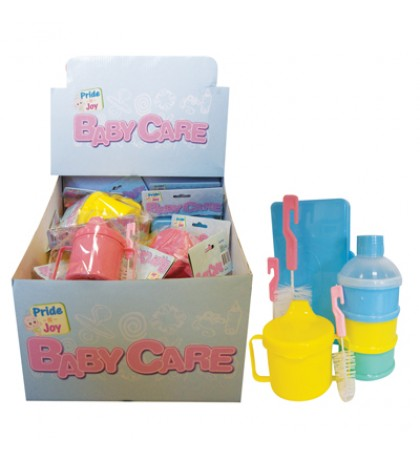 baby care accessories 2pk bottle and brushes- baby wipes case and 3 layer drink and snack holder